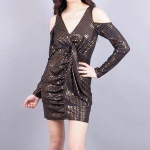 Dance & Marvel Bronze Black Cold Shoulder Dress
